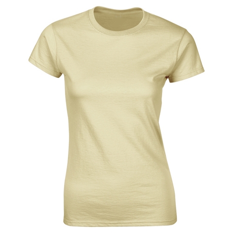 SoftStyle Ladies Fitted Ringspun T-Shirt-Sand